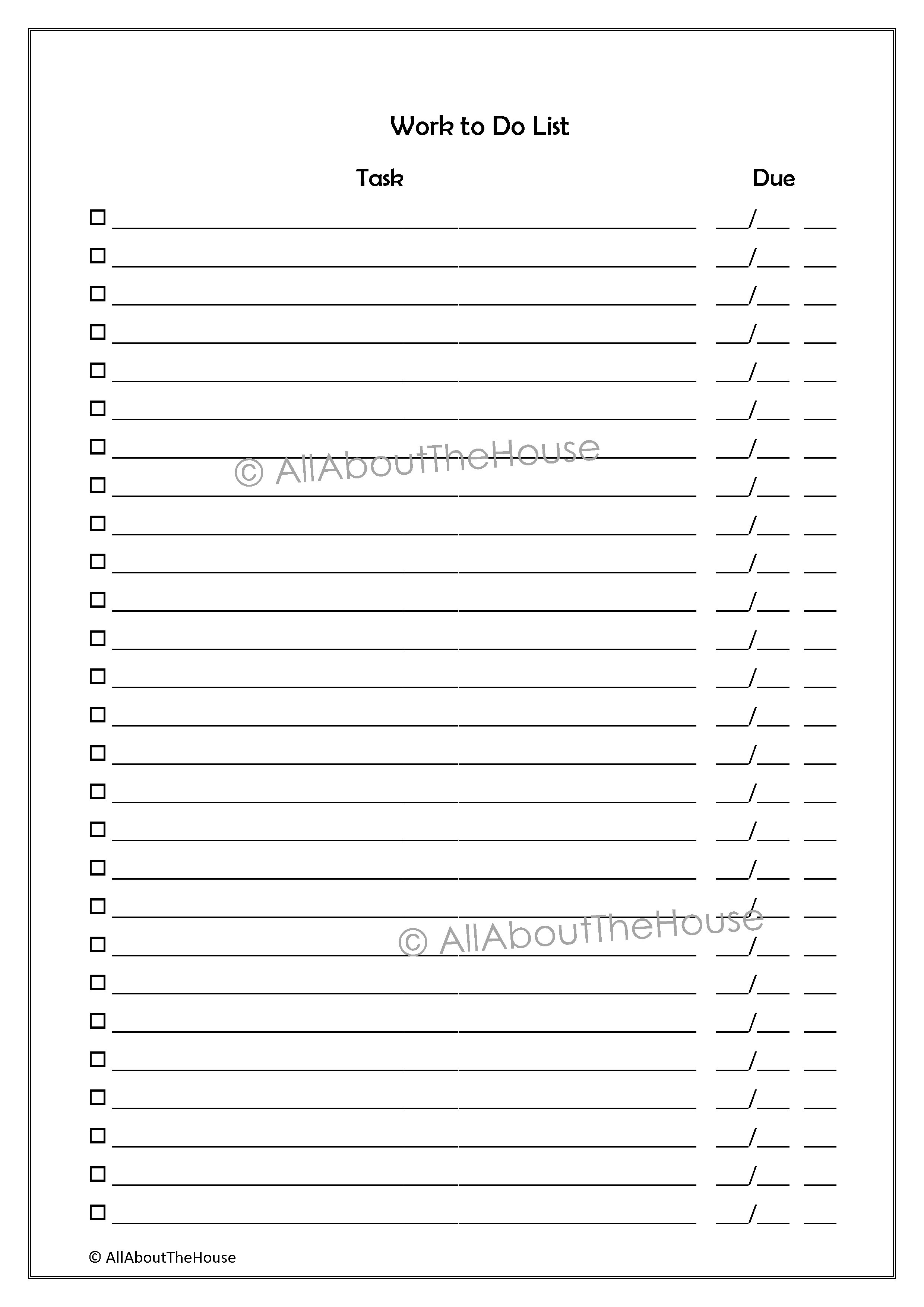 Witty image inside printable to do lists for work