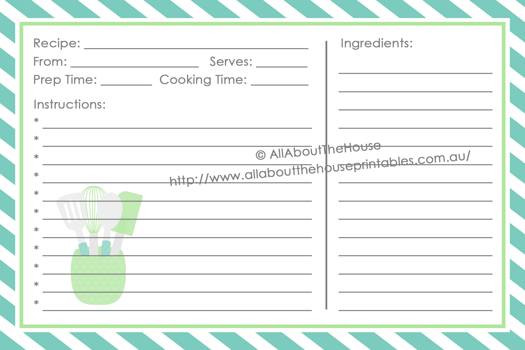 4 x 6 Recipe Card - Style 3 Front