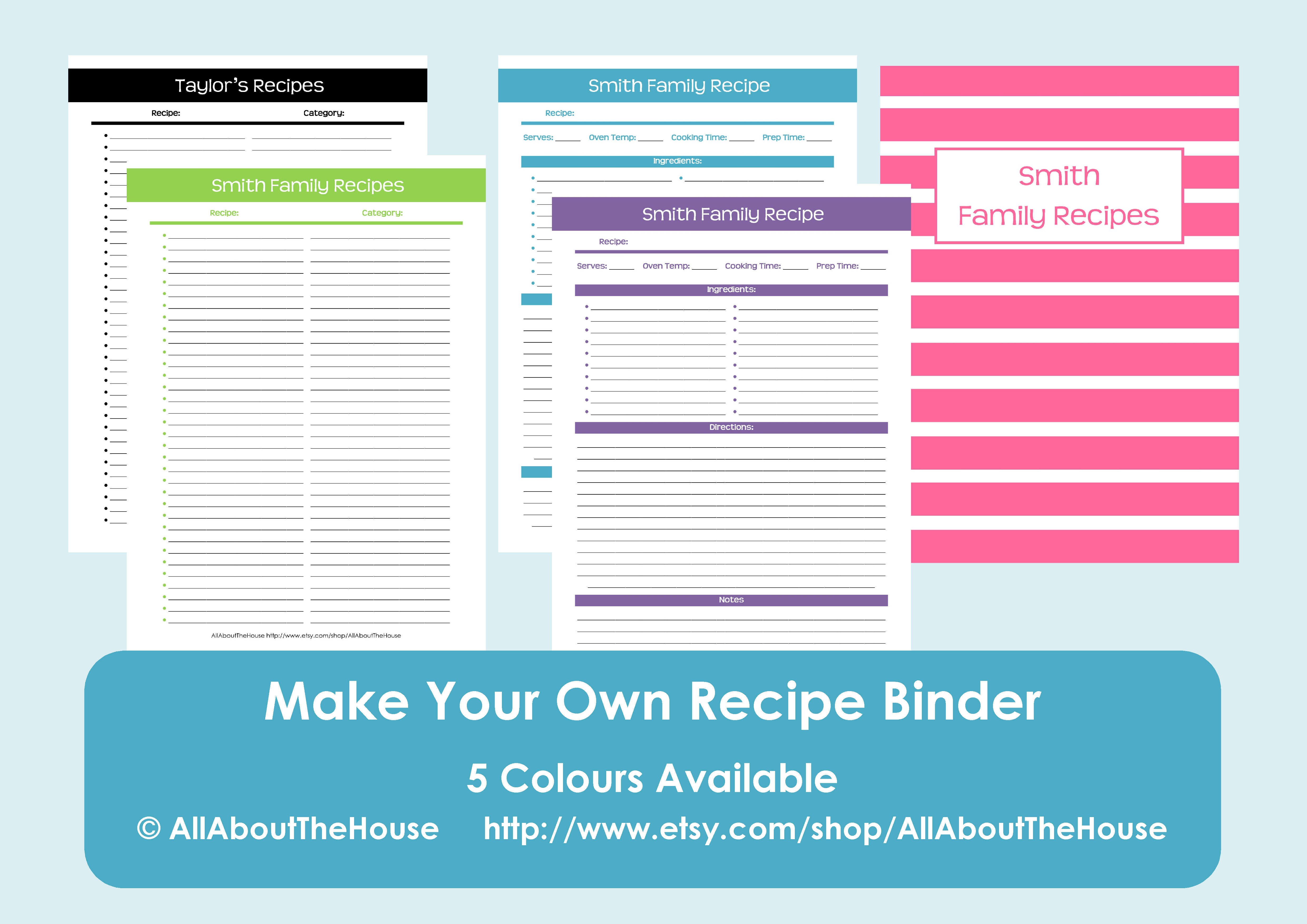 make your own personalised printable recipe binder allaboutthehouse printables. Black Bedroom Furniture Sets. Home Design Ideas