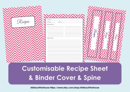 chevron recipe binder printables