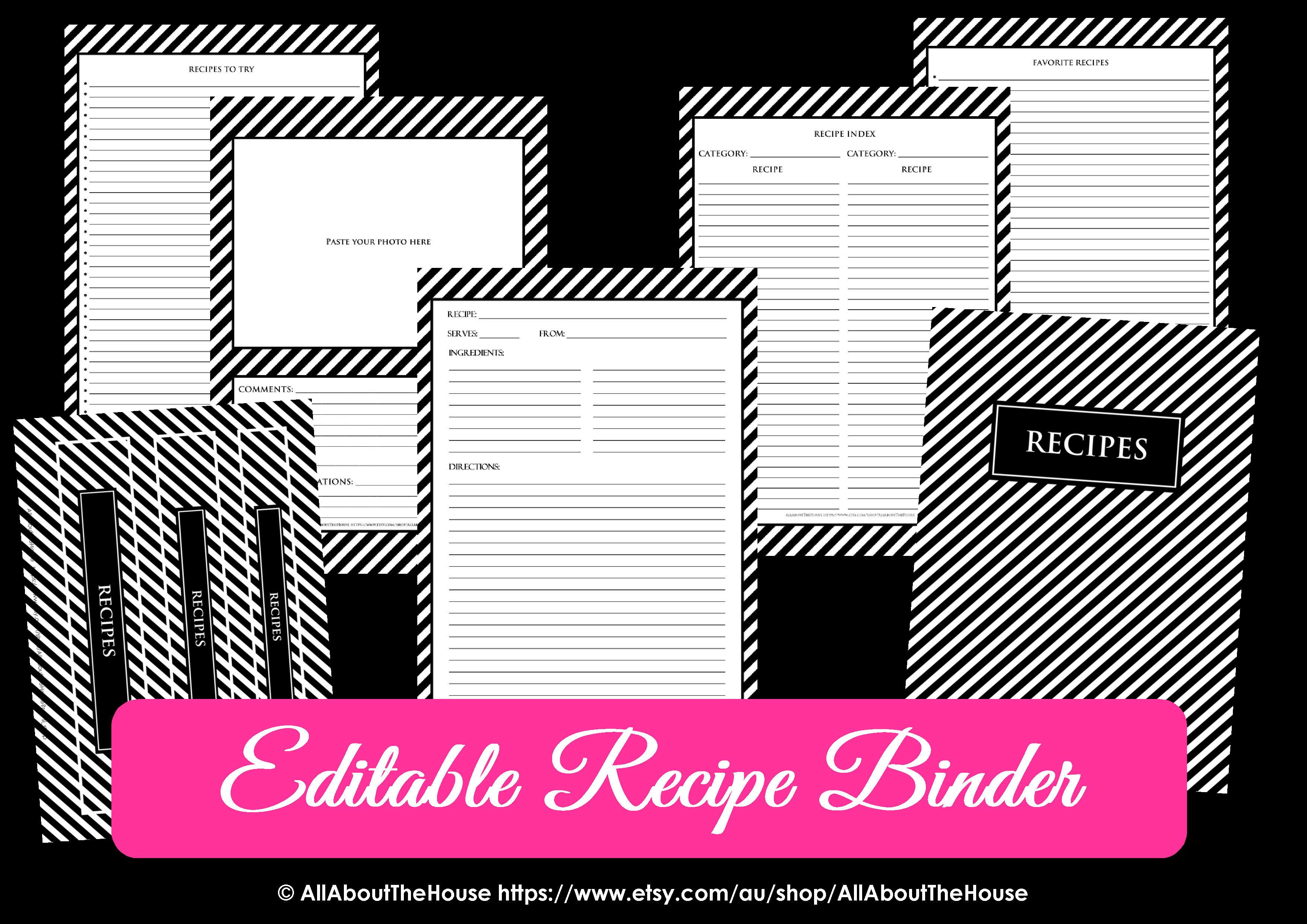 Editable Recipe Binder Black