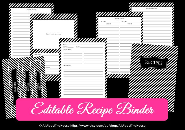 Editable Recipe Binder Black