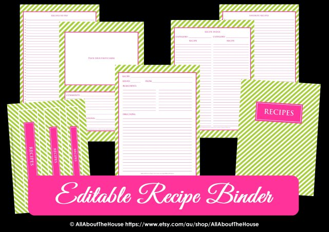 Editable Recipe Binder Green Pink