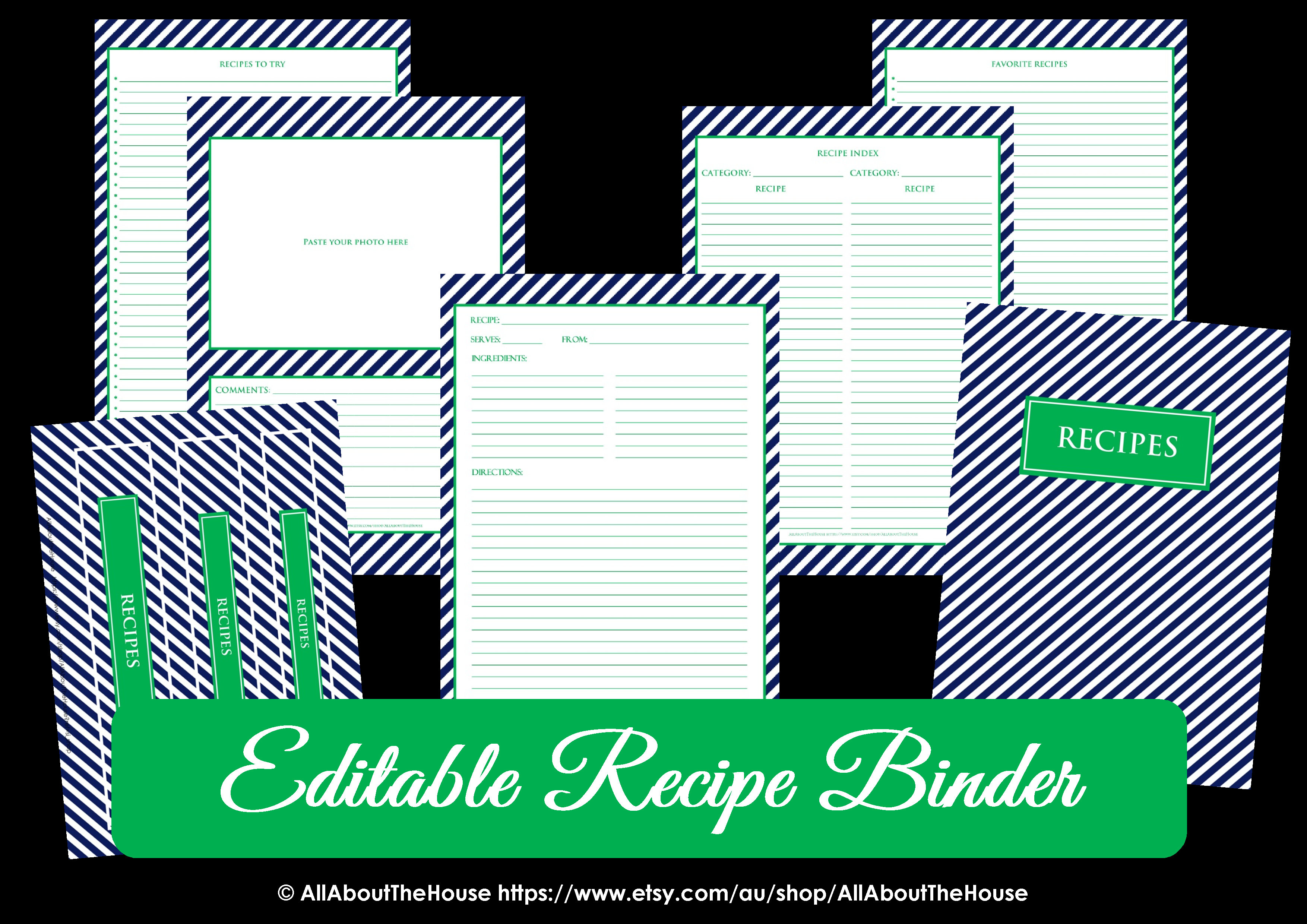 Editable Recipe Binder Navy Green