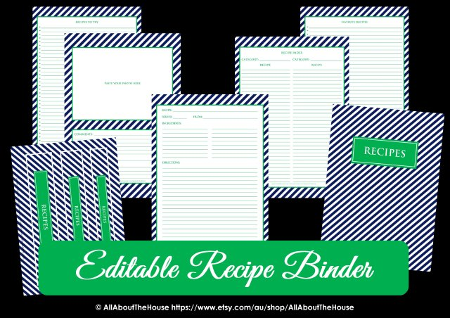 Editable Recipe Binder Navy Green