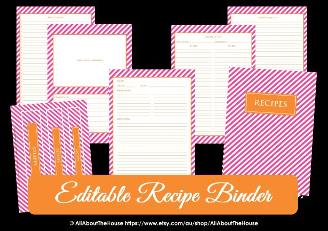 Editable Recipe Binder Preppy