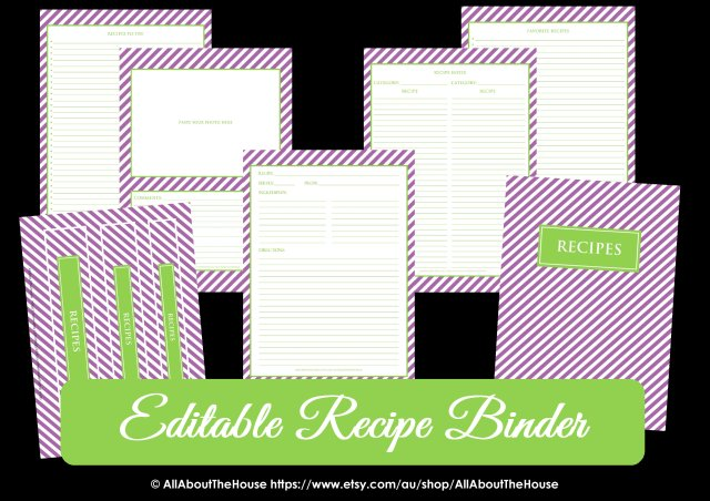 Editable Recipe Binder Purple Green