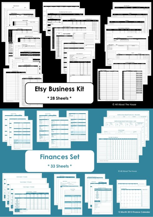 finance and etsy business value pack kit