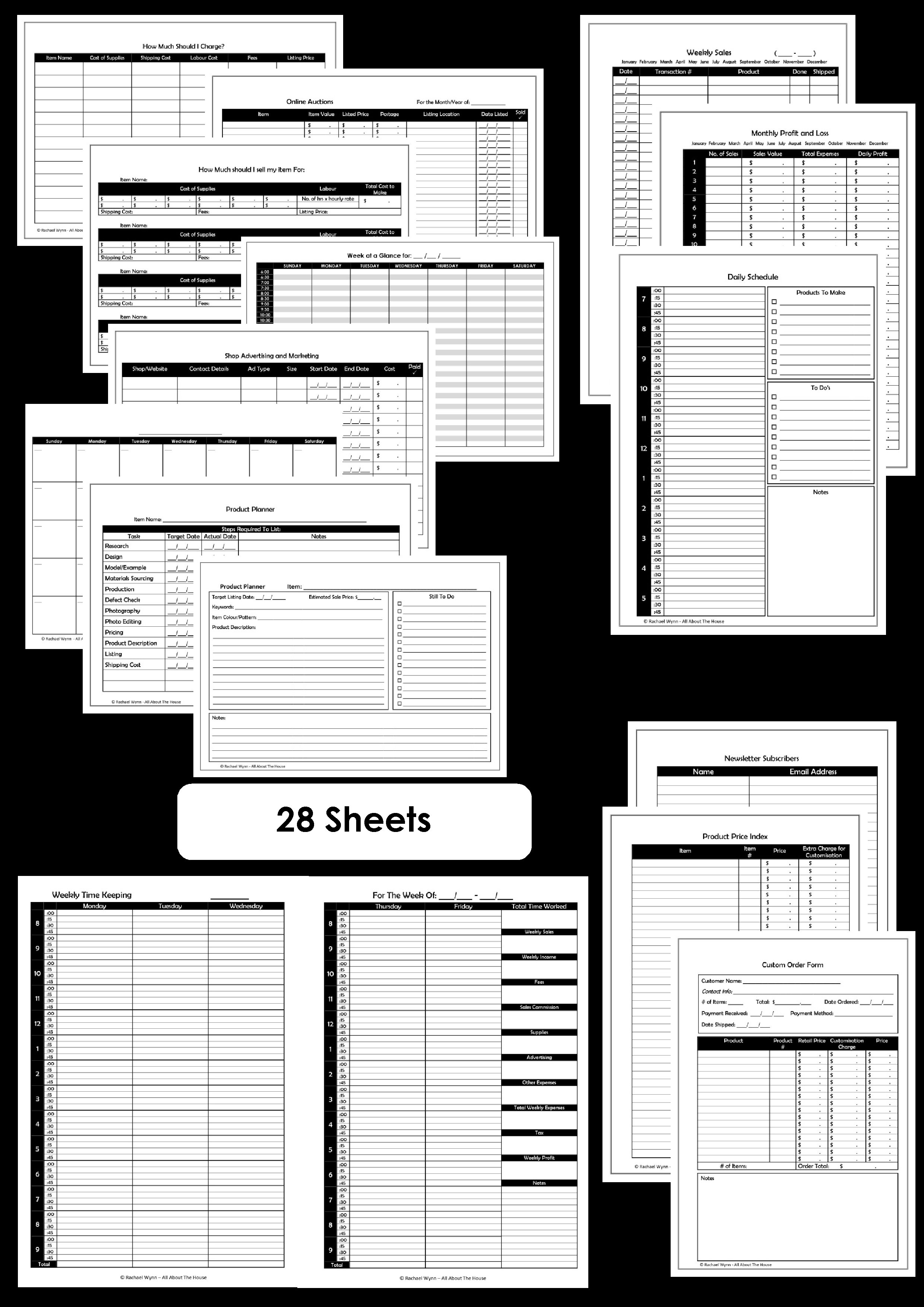 Business planner printables simple planner series all for Online work planner