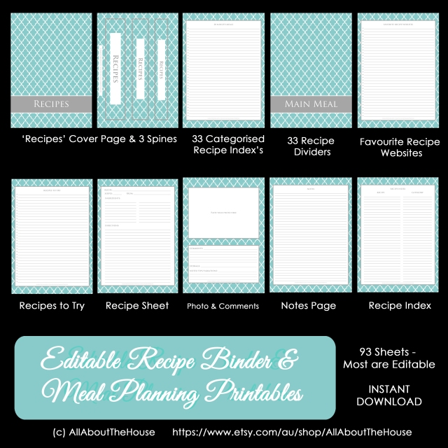 Meal Planning & Recipe Binder Quatrefoil