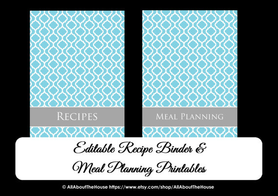 quatrefoil recipe binder blue grey meal plan editable instant binder cover organize