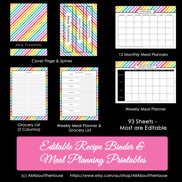 Rainbow Recipe Binder Meal Planner2