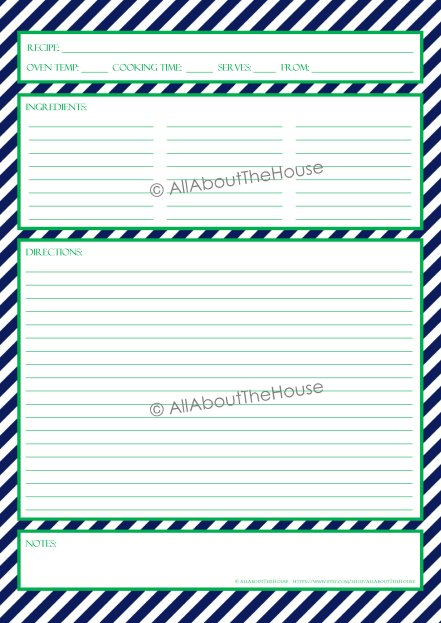 Stripe Recipe Sheet Style 3