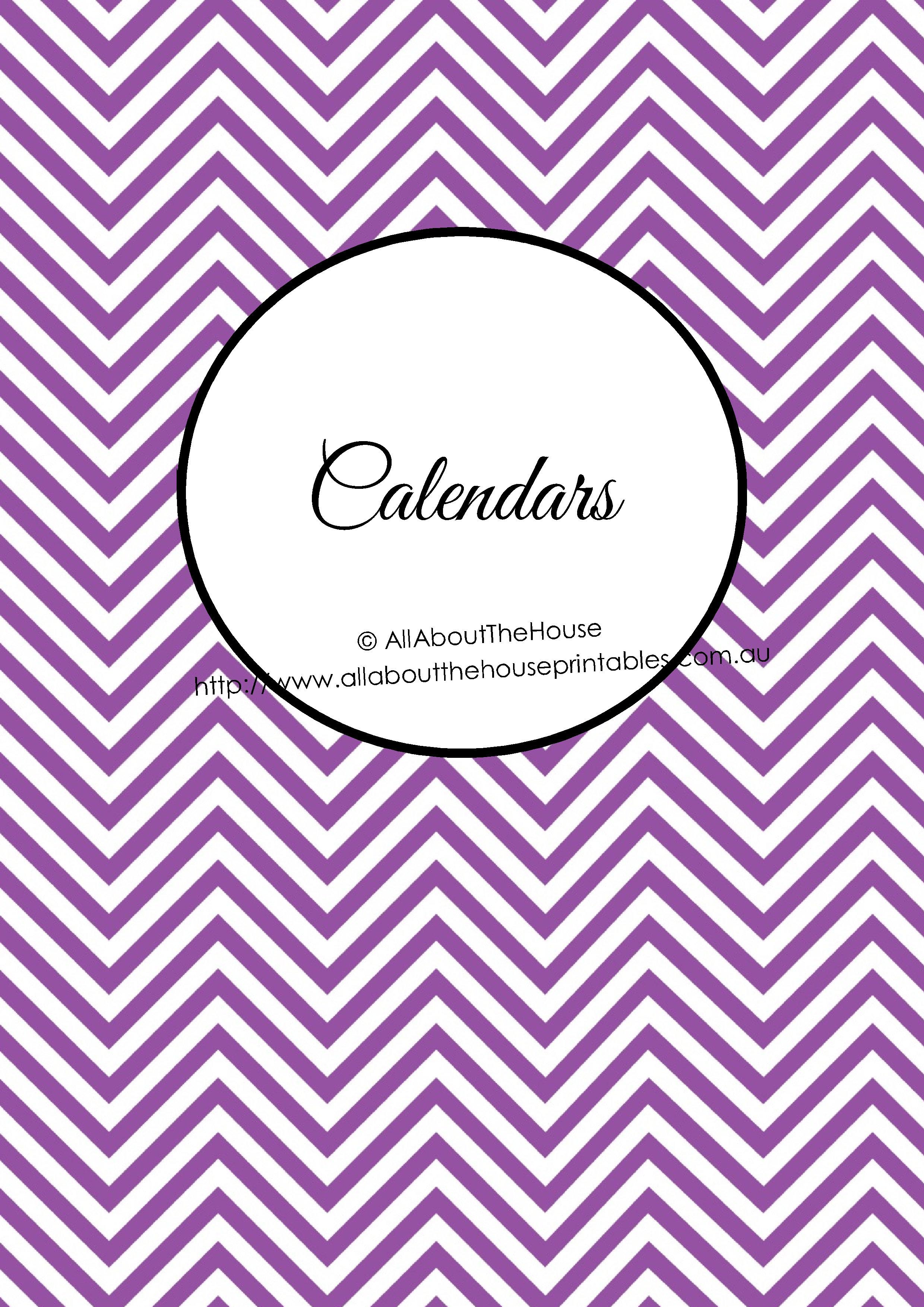 Calendars binder cover chevron printable planner