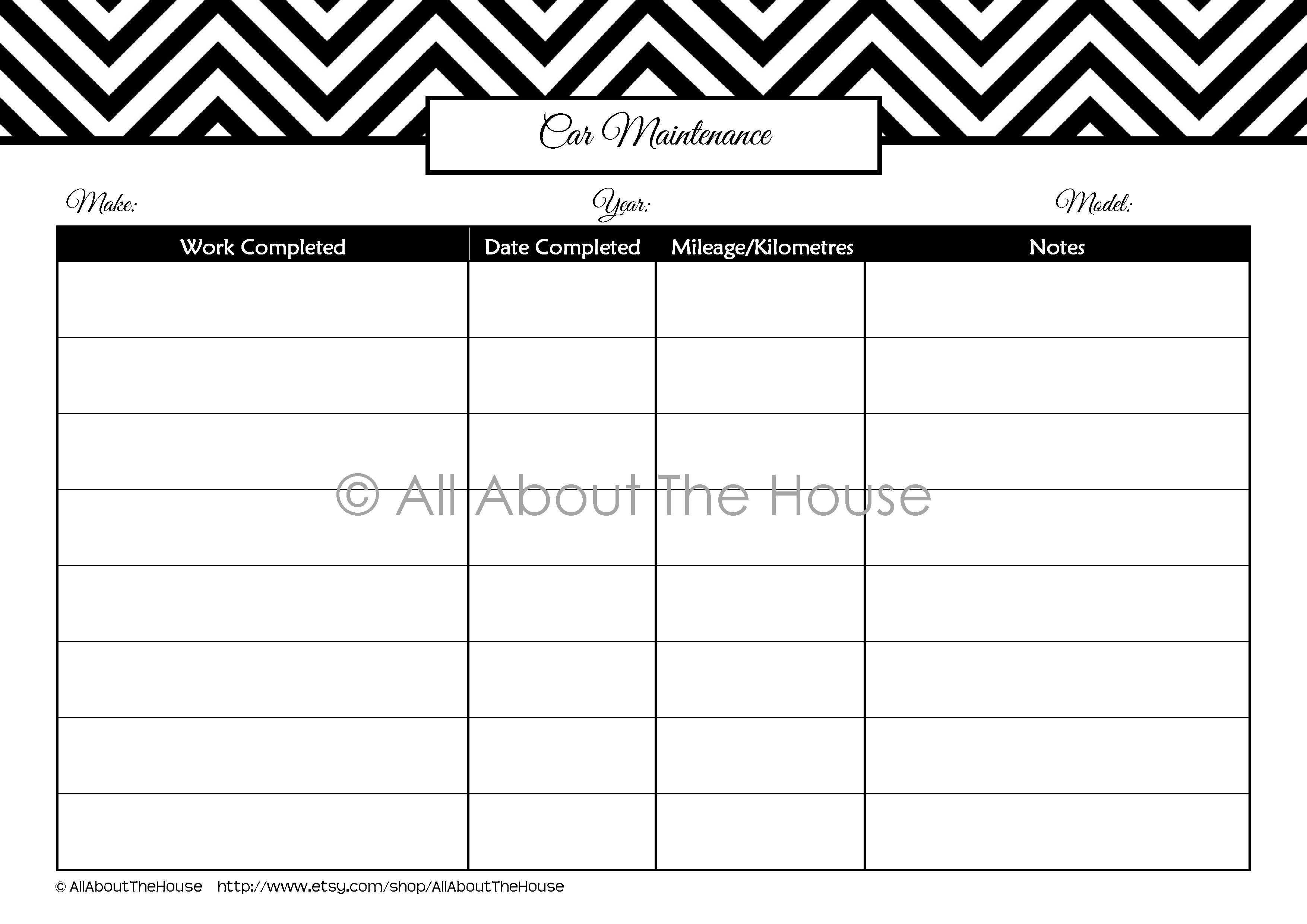 Car Maintenance Printable Allaboutthehouse Printables