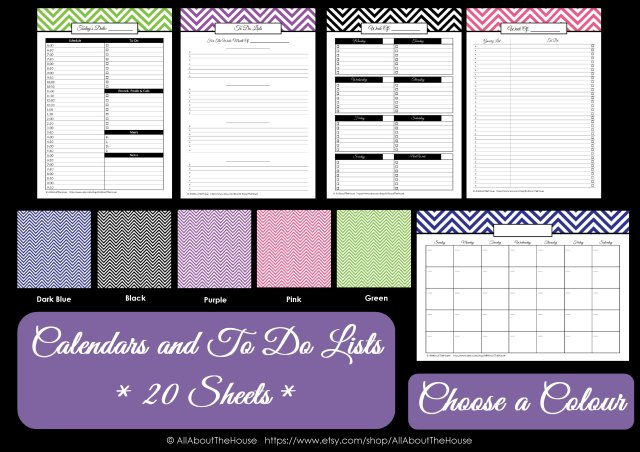 Colour Chart - Lists and calendars