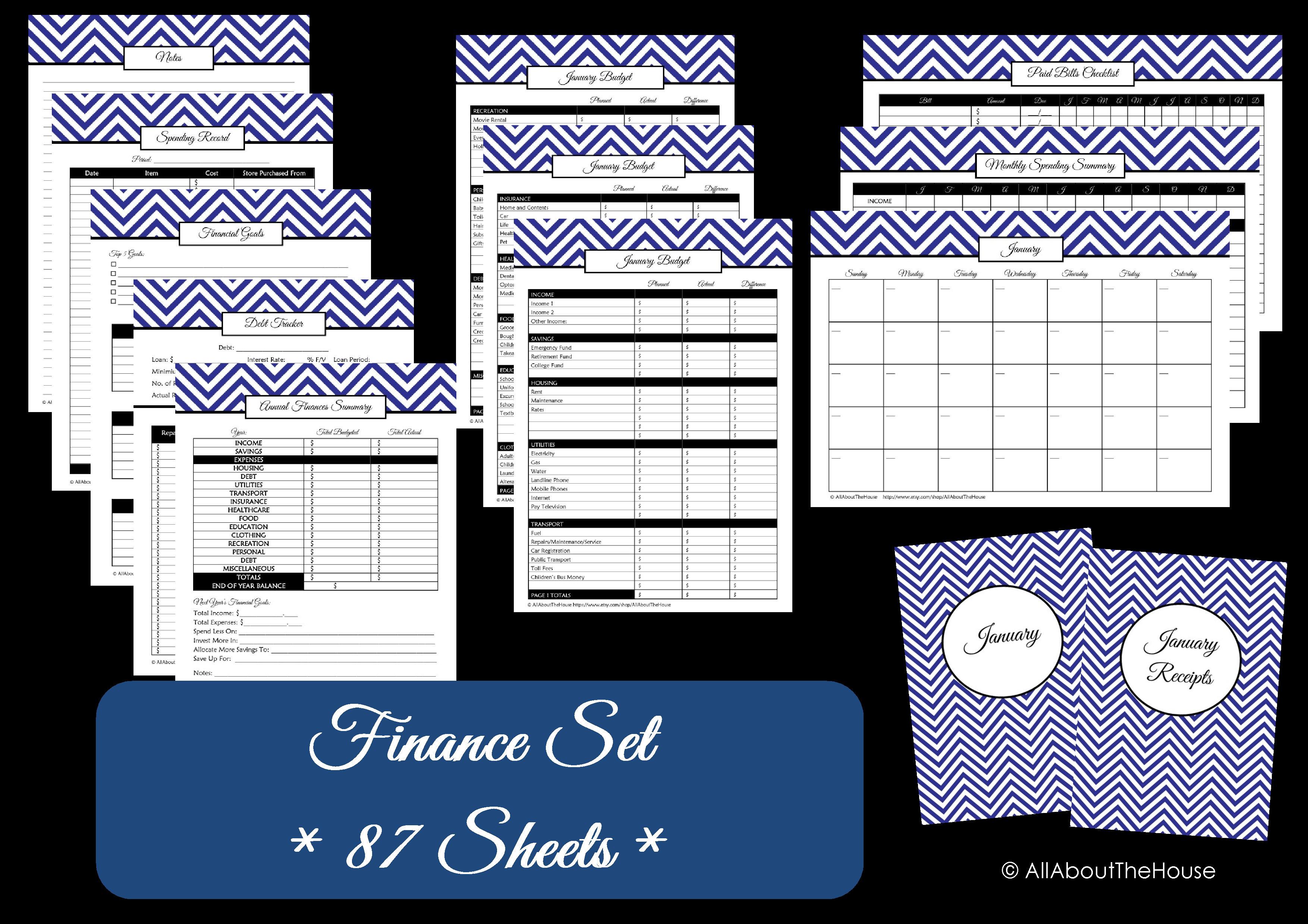 chevron finance binder set  u2013 household binder printables