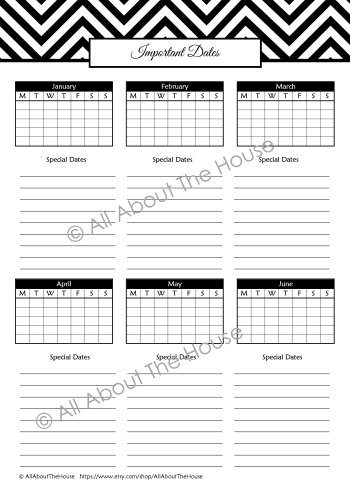 Important Dates - Monthly - Black