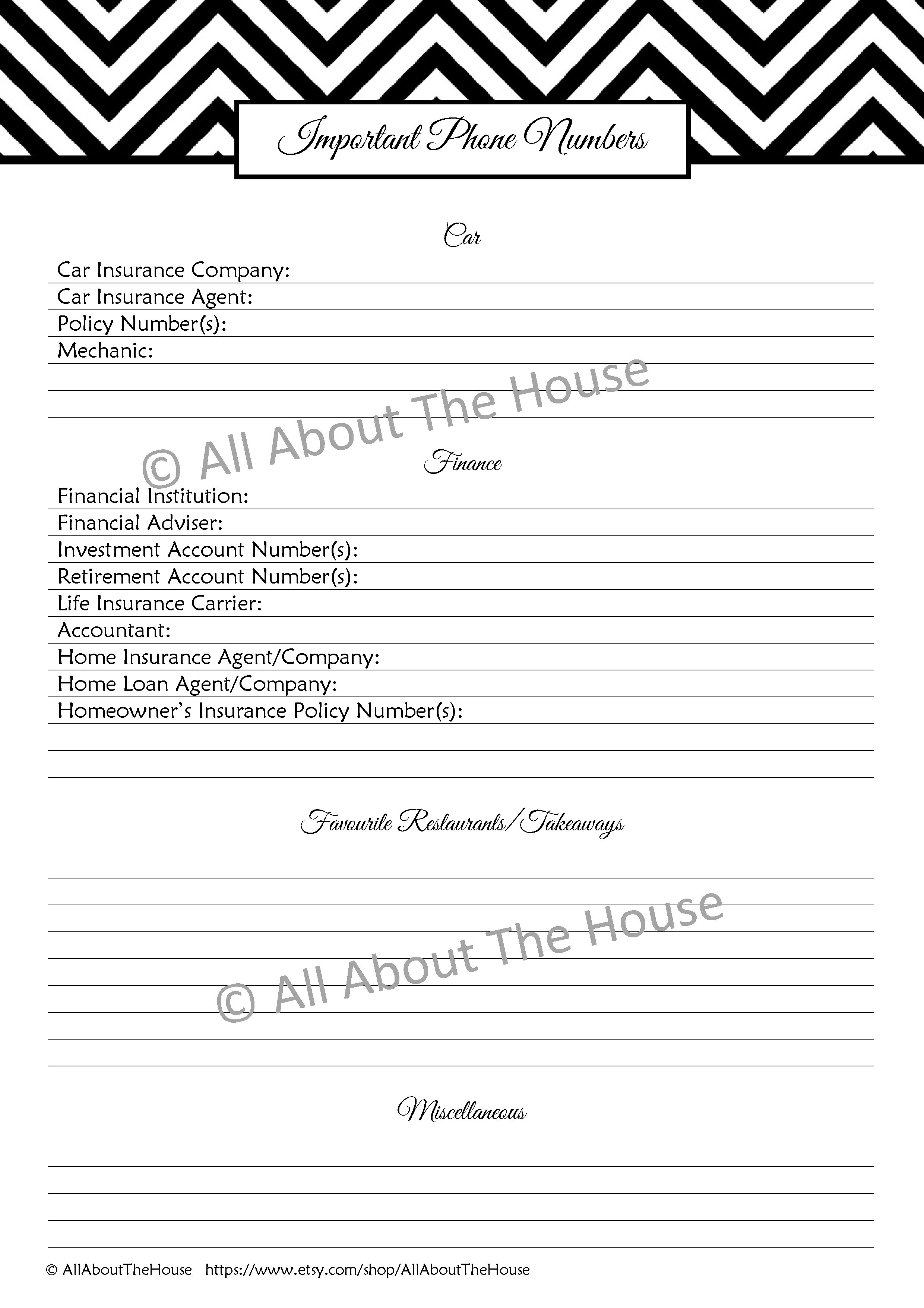 Important Phone Numbers Allaboutthehouse Printables