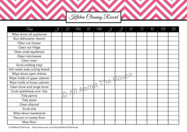 Kitchen Cleaning Record - Pink