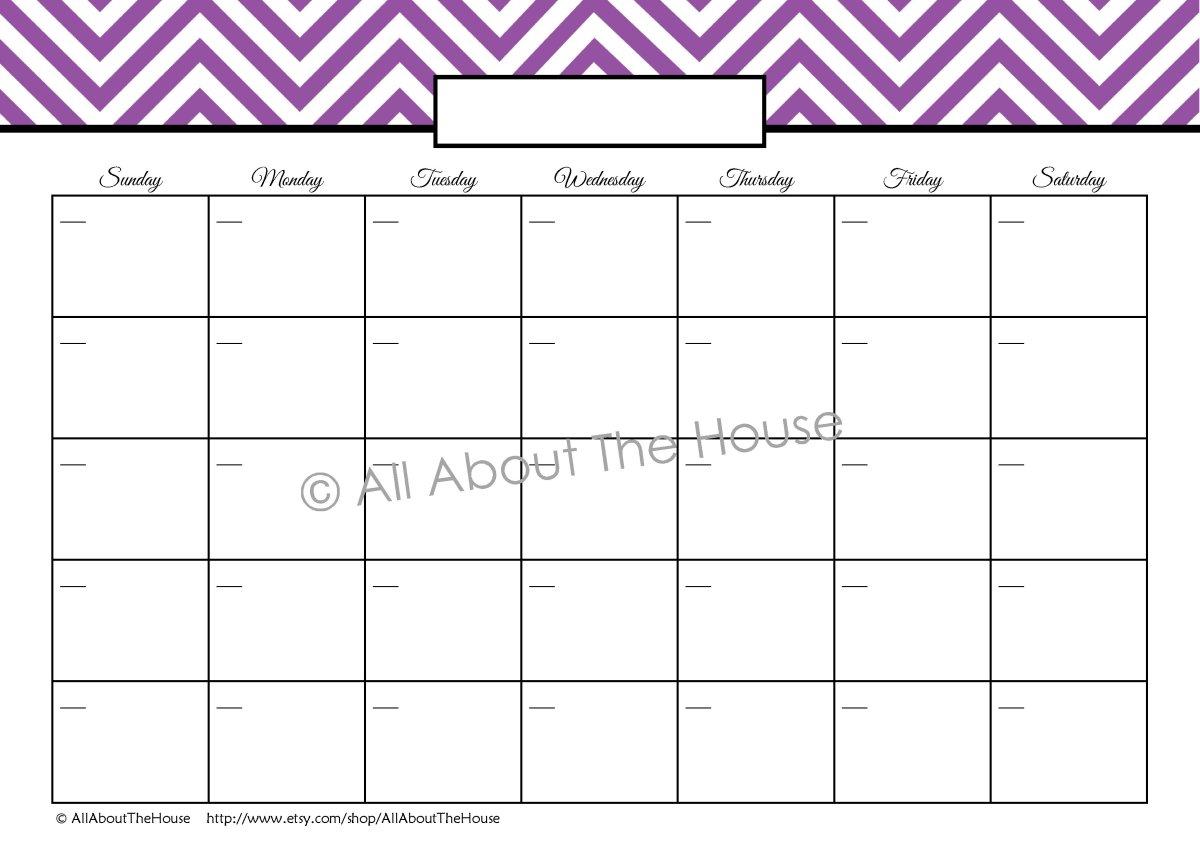 Perpetual Monthly Calendar Blank Purple