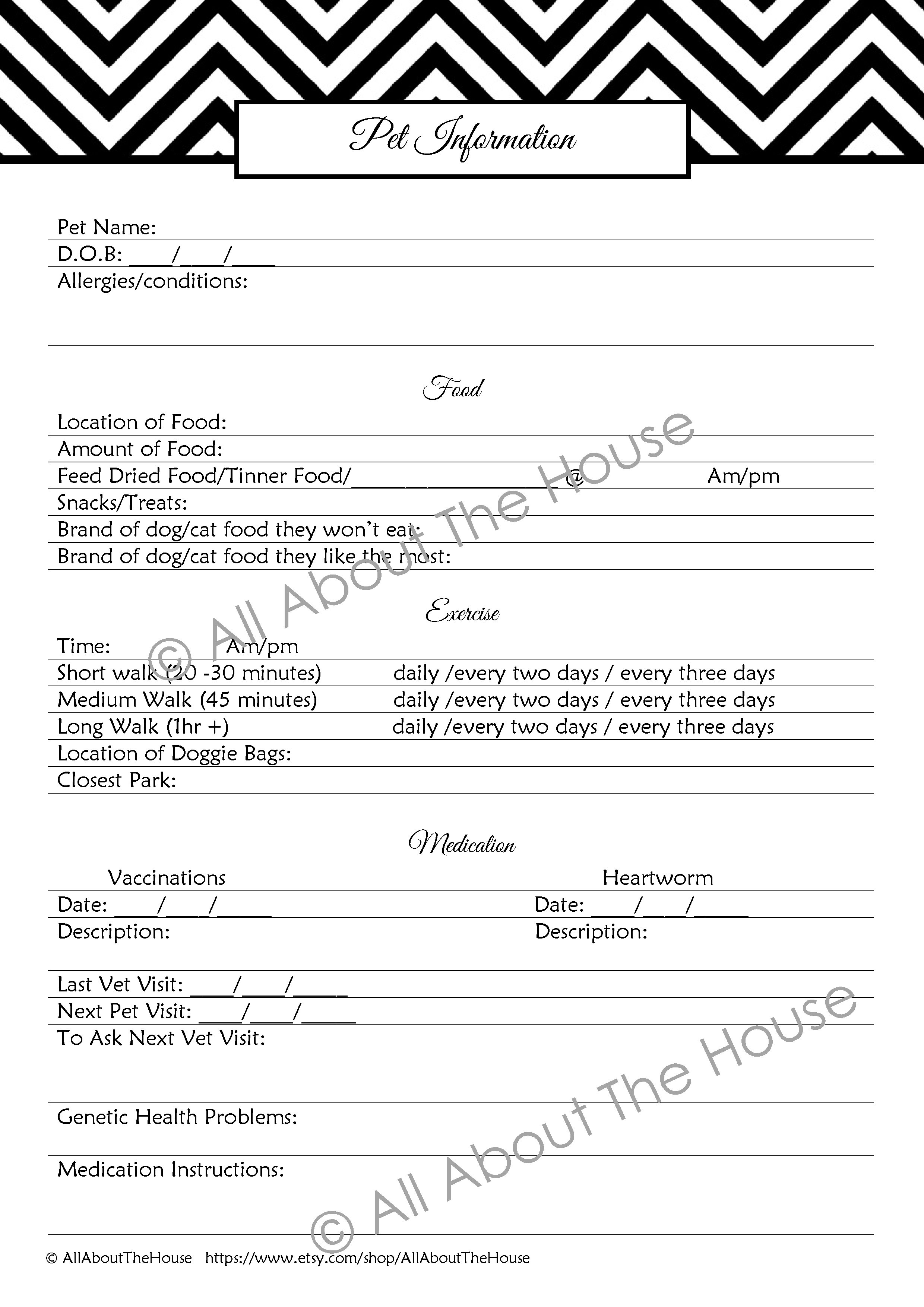 insurance information allaboutthehouse printables