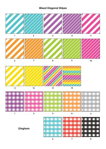 Colour Swatches - Bright diag, gingham
