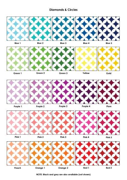 Colour Swatches - Diamonds & circles