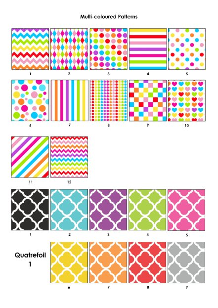 Colour Swatches - Mult-coloured and quatrefoil