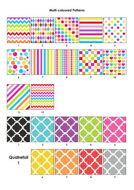 Colour Swatches - Mult-coloured and quatrefoil