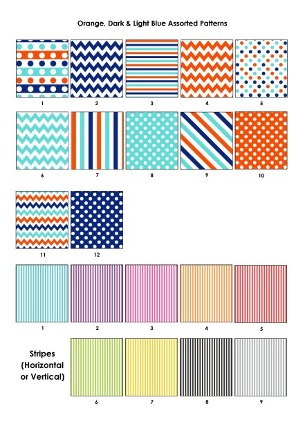 Colour Swatches - Orange and blues, stripes