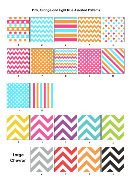 Colour Swatches - Pink, Orange, Blue, Large Chevron
