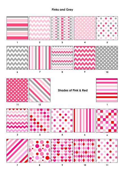 Colour Swatches - Pinks, Grey & Mixed Pink