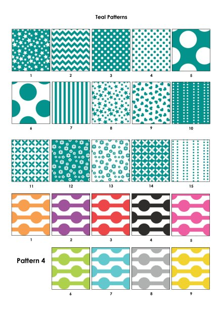 Colour Swatches - Teal, Pattern 4