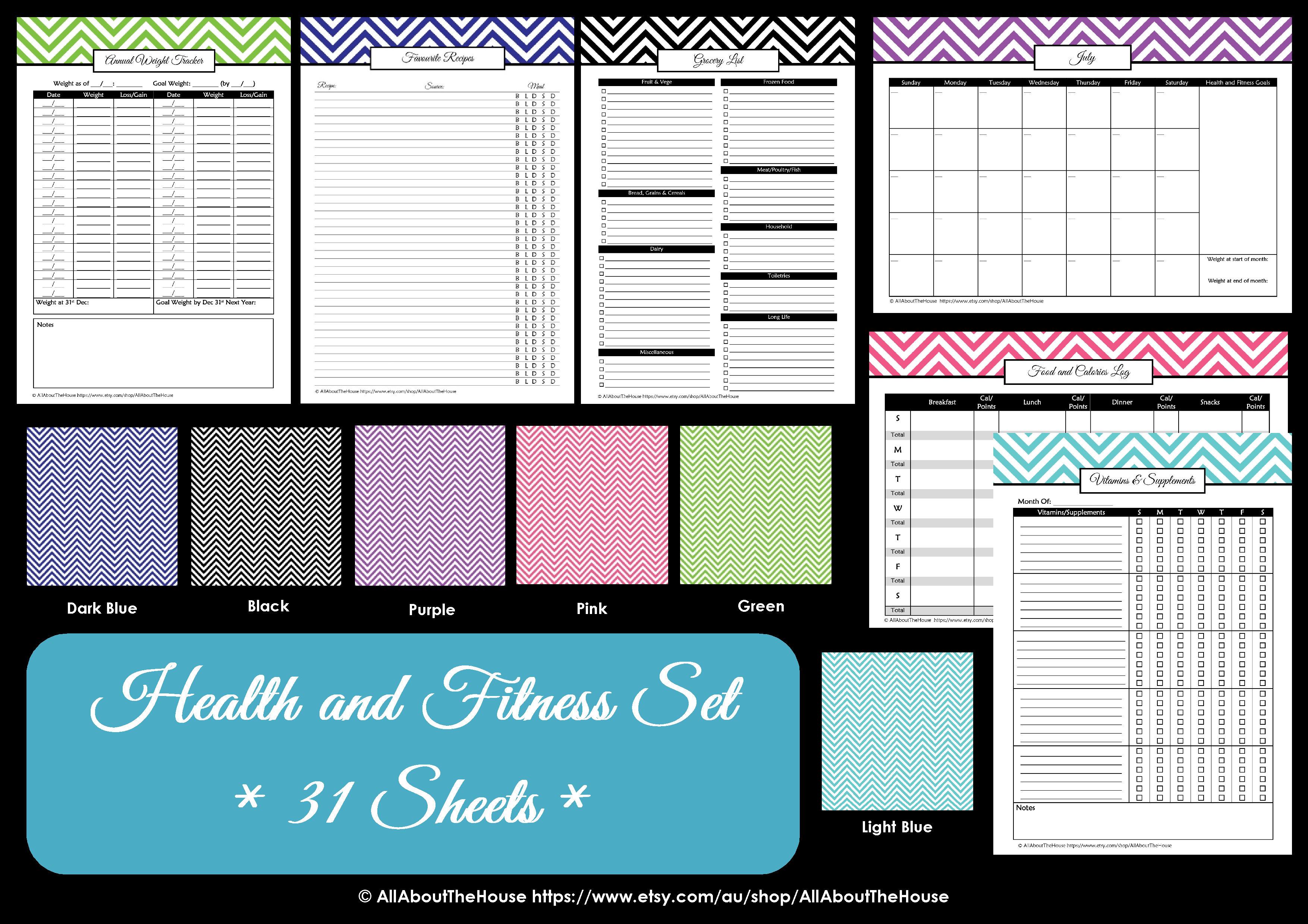 Health And Fitness Printables Kit