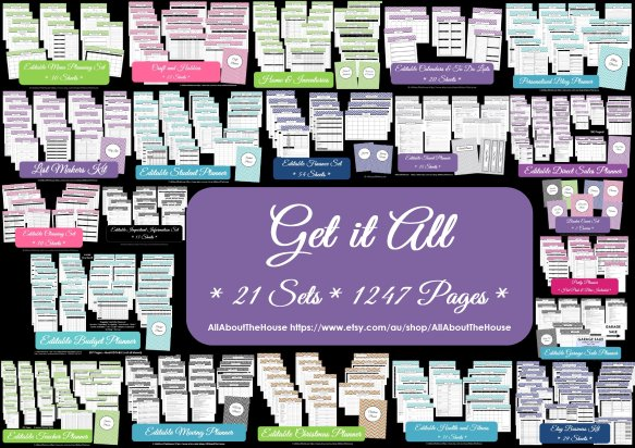 Get It All printable planner chevron instant download 21 sets 1247 pages pdf some editable multicoloured household binder