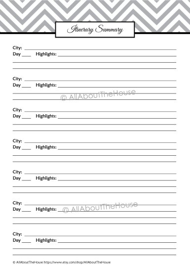Itinerary Summary