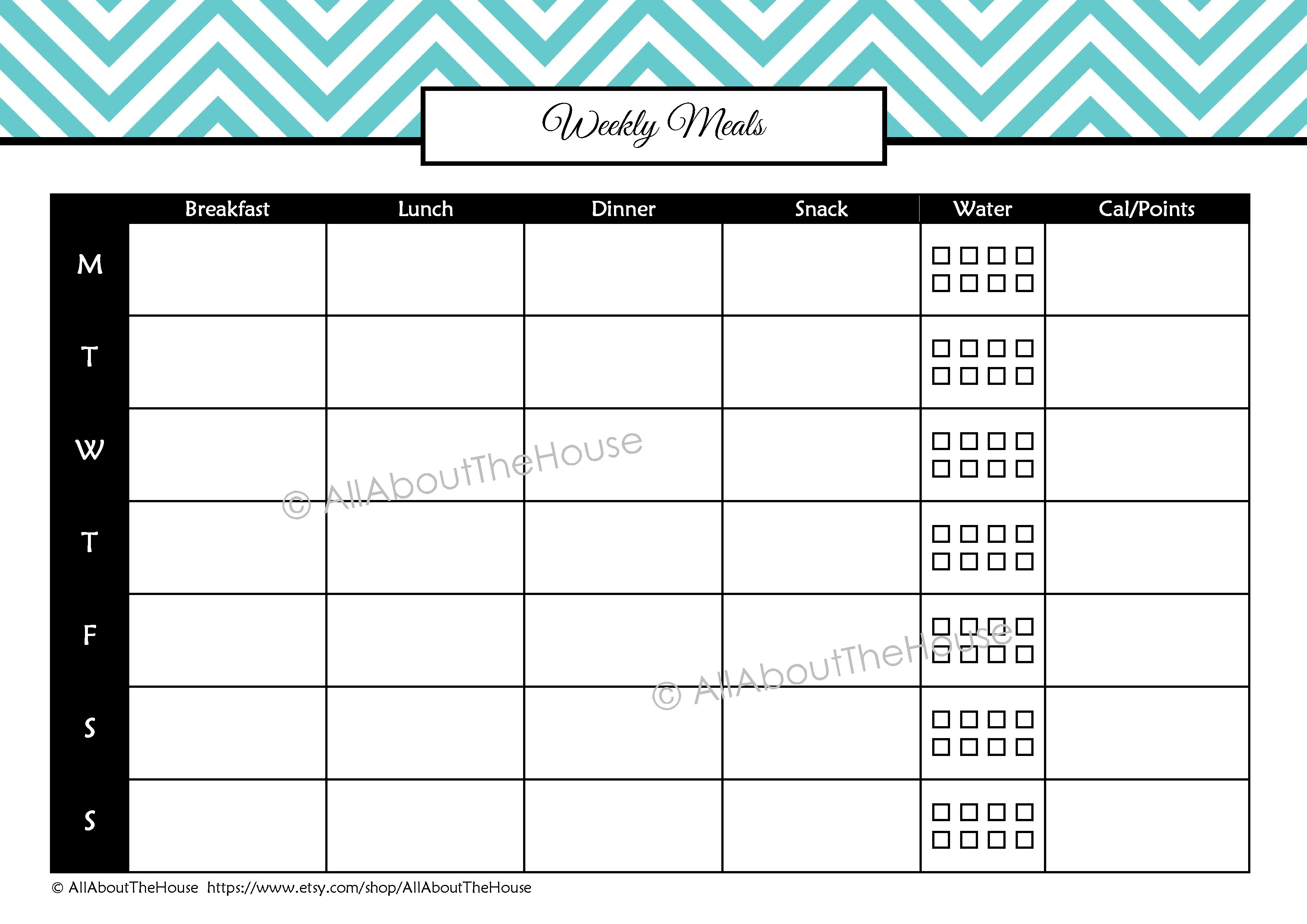 Weekly Calendar Breakfast Lunch Dinner : Health and fitness printables kit allaboutthehouse