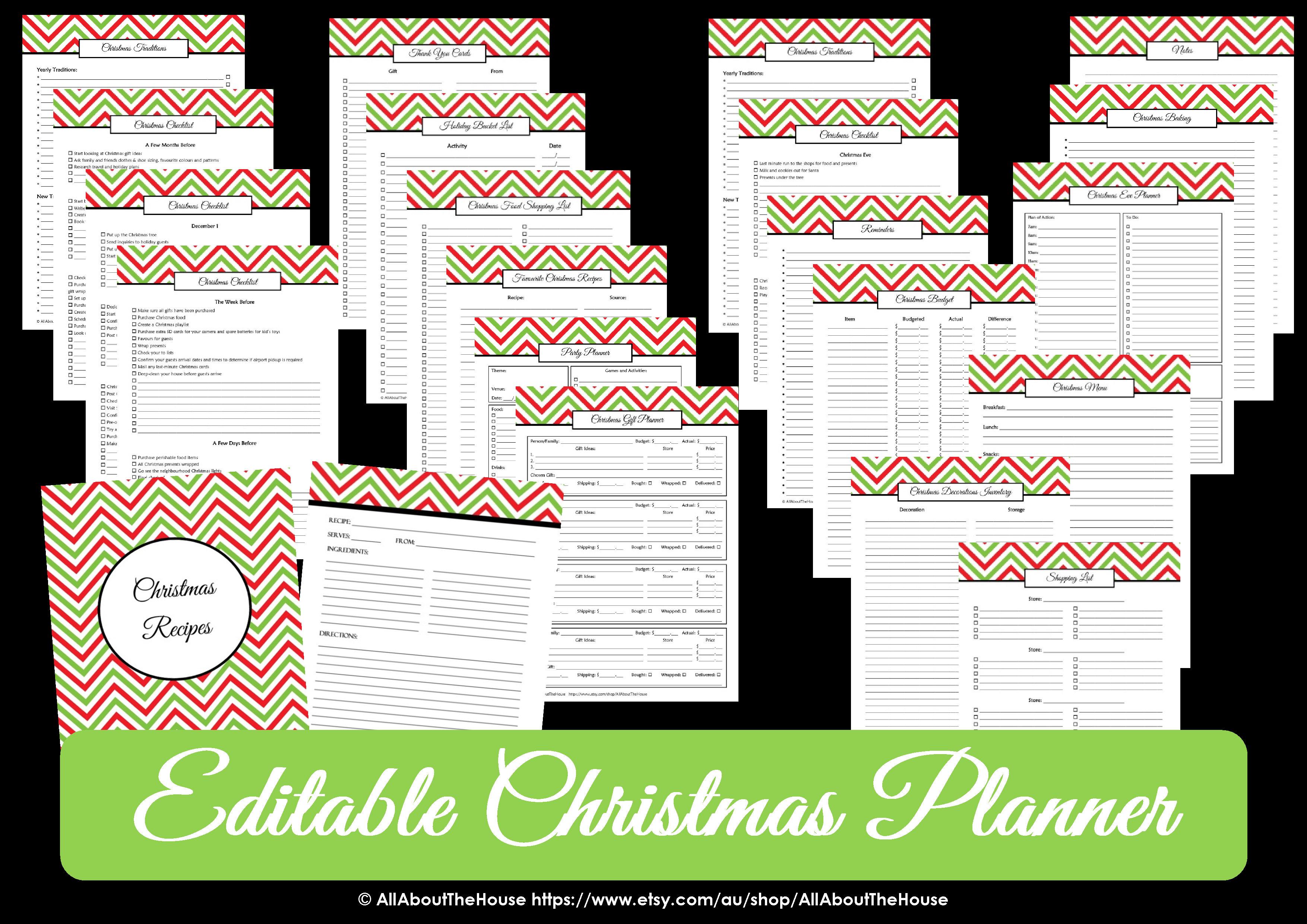 new  editable christmas planner