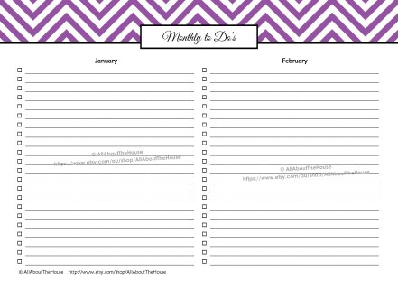 Monthly To Do's