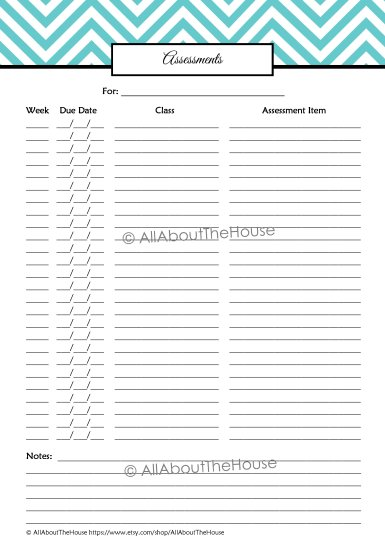 Assessments -Student Planner