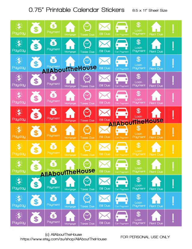 Calendar Stickers Printable - Rainbow