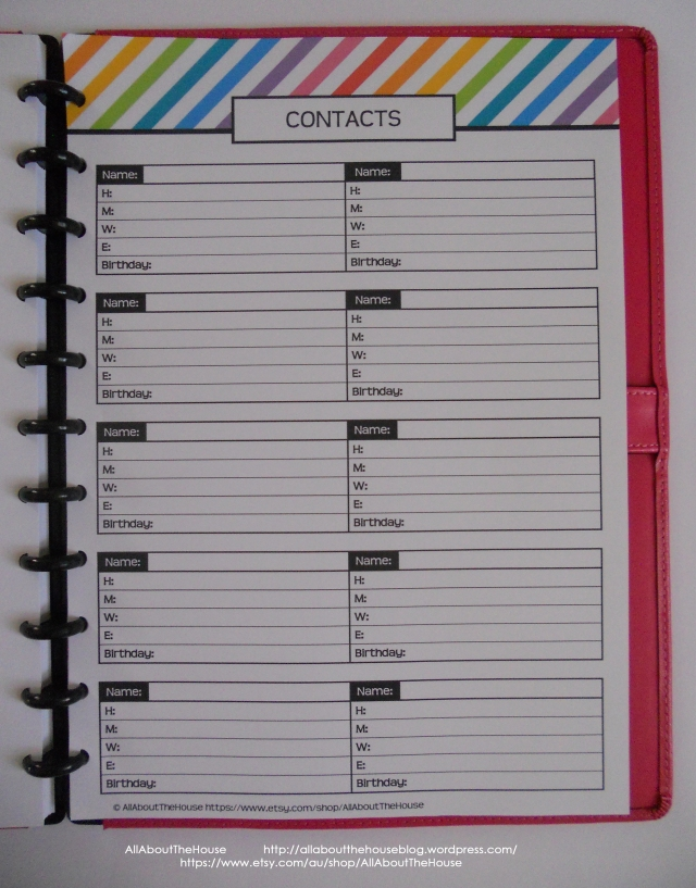 Contacts Rainbow Planner
