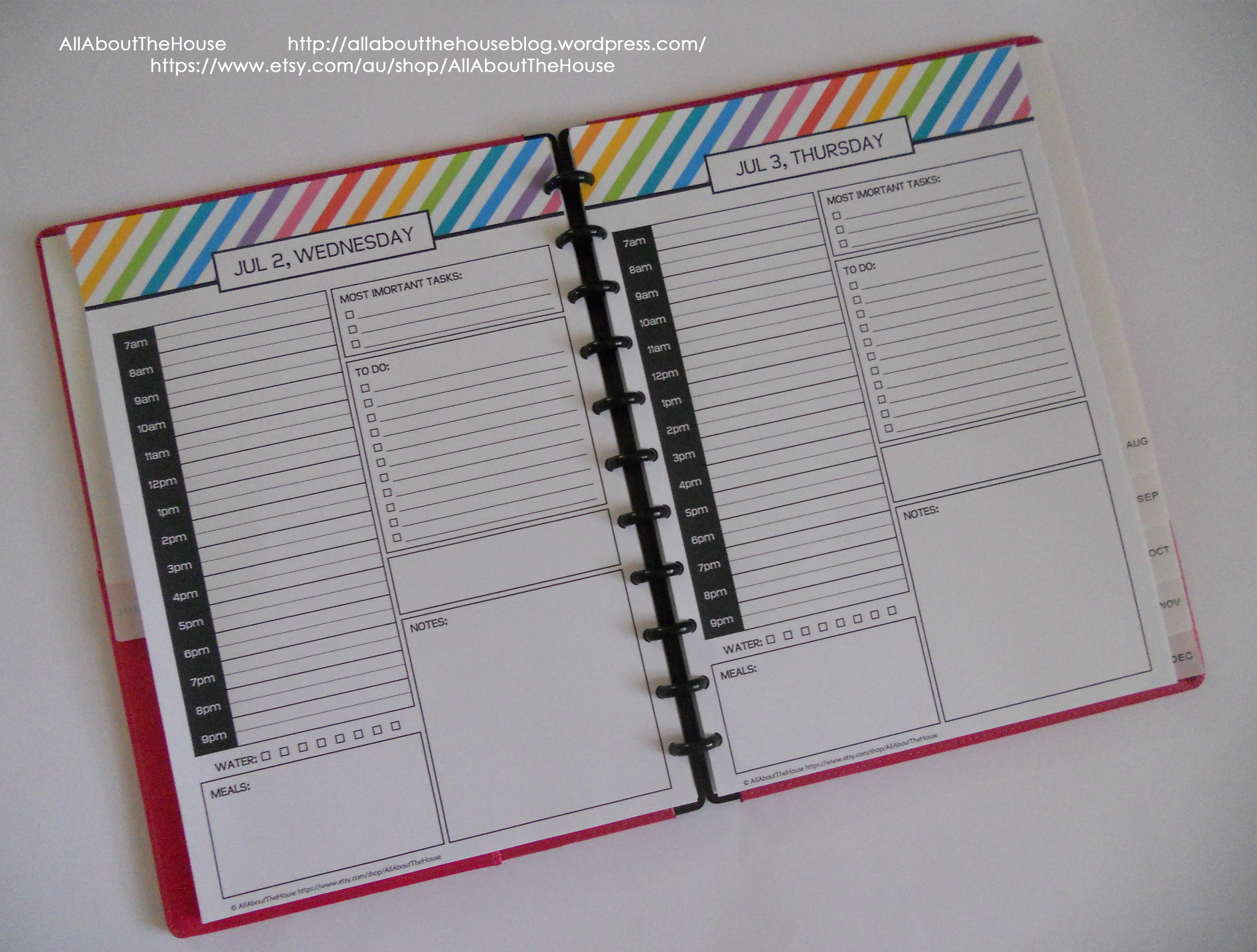 My 2015 Printable Rainbow Daily Planner | AllAboutTheHouse Printables