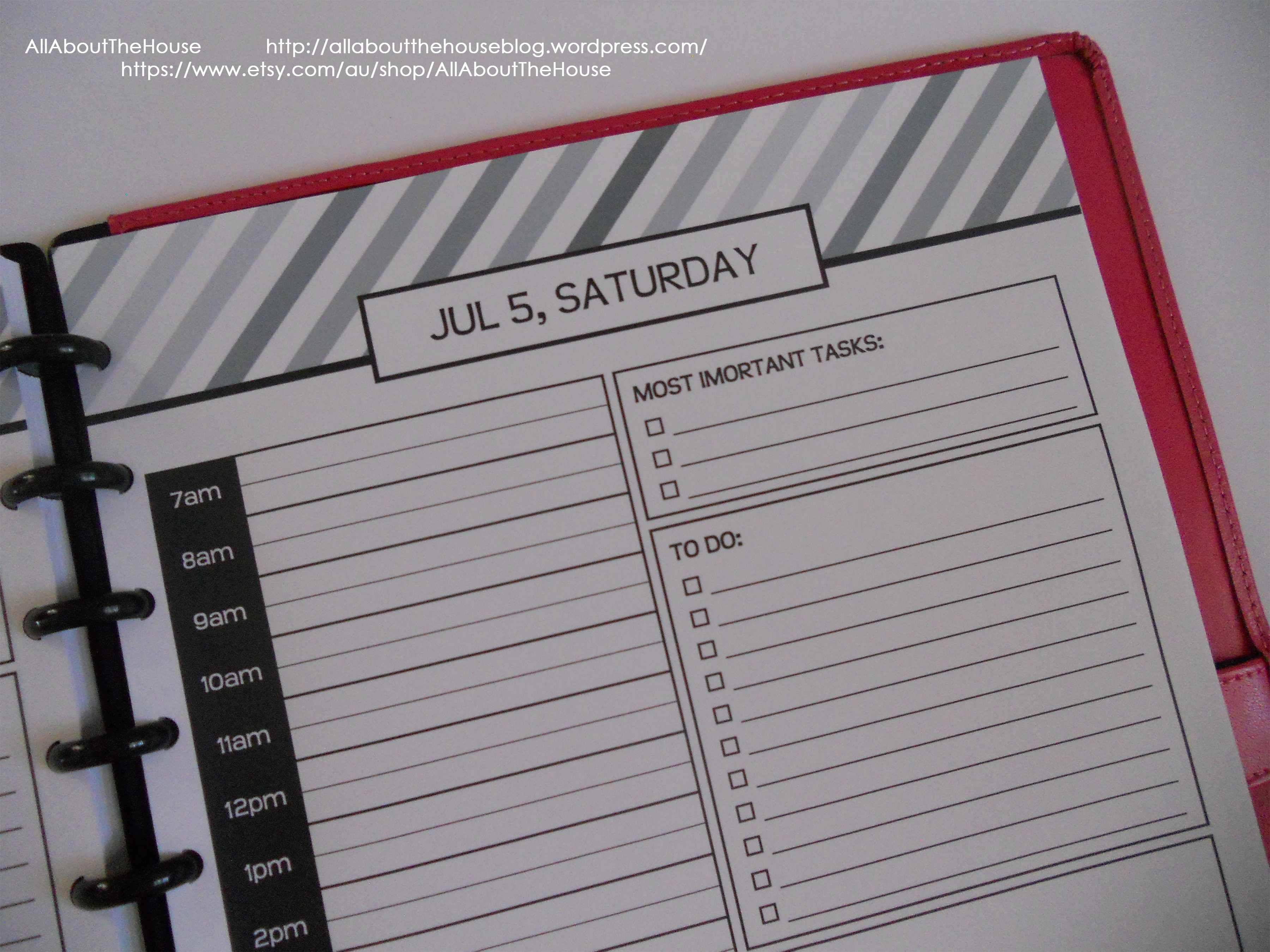 Daily planner editable stripe