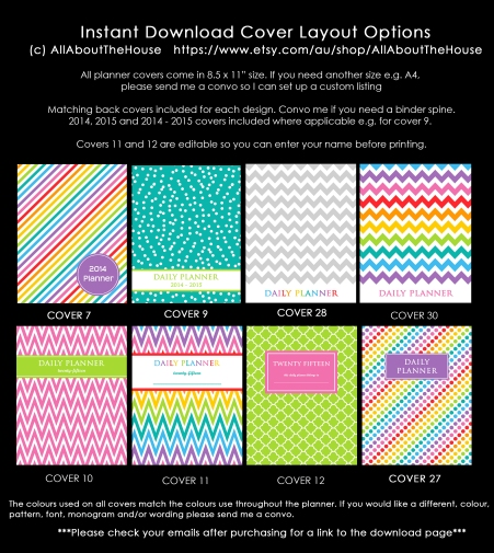 Planner Cover Options - Rainbow - Instant