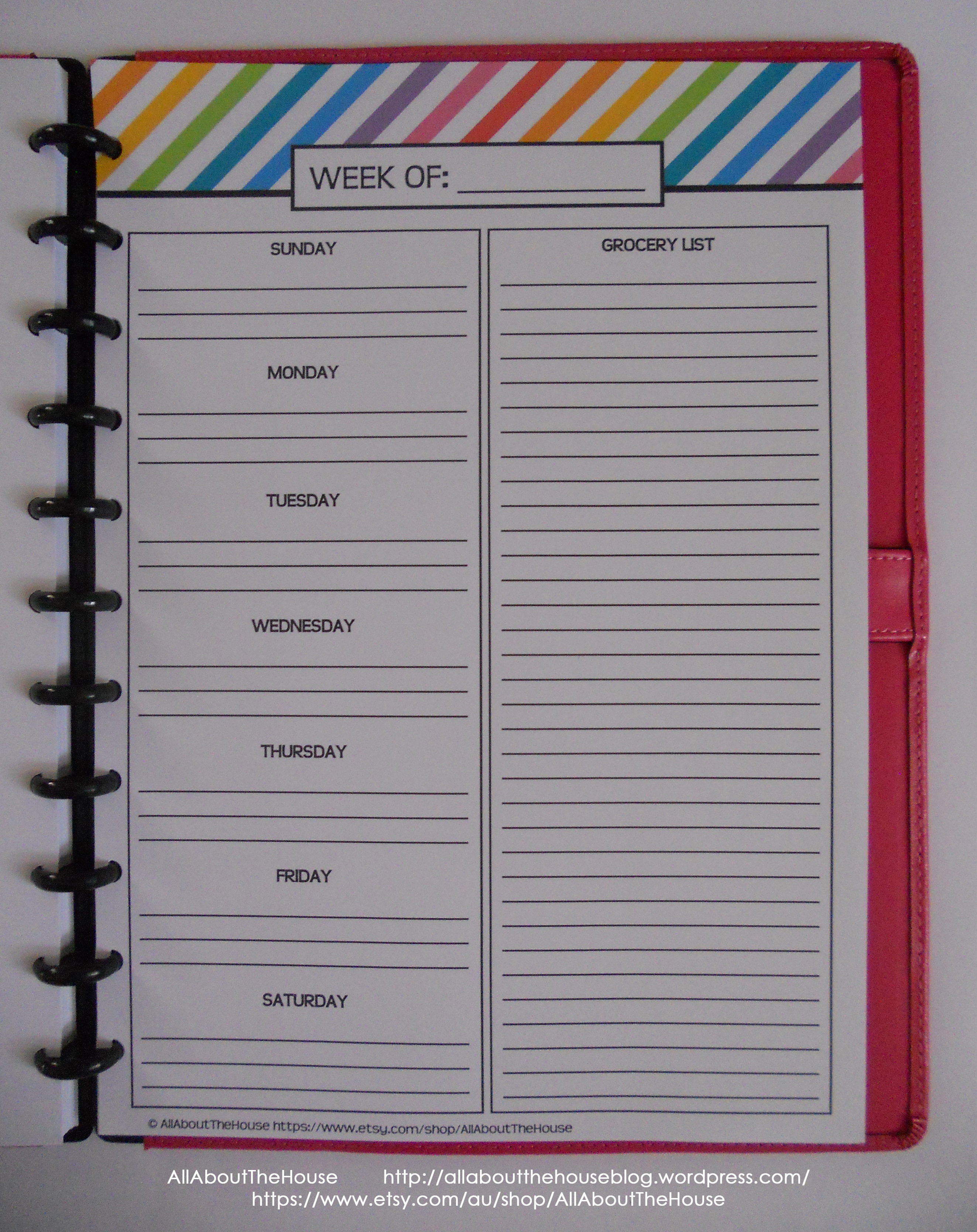 Weekly Menu Planner - Rainbow