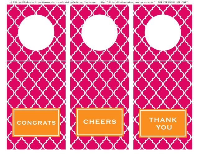 Wine Bottle Freebie - Pink & Orange