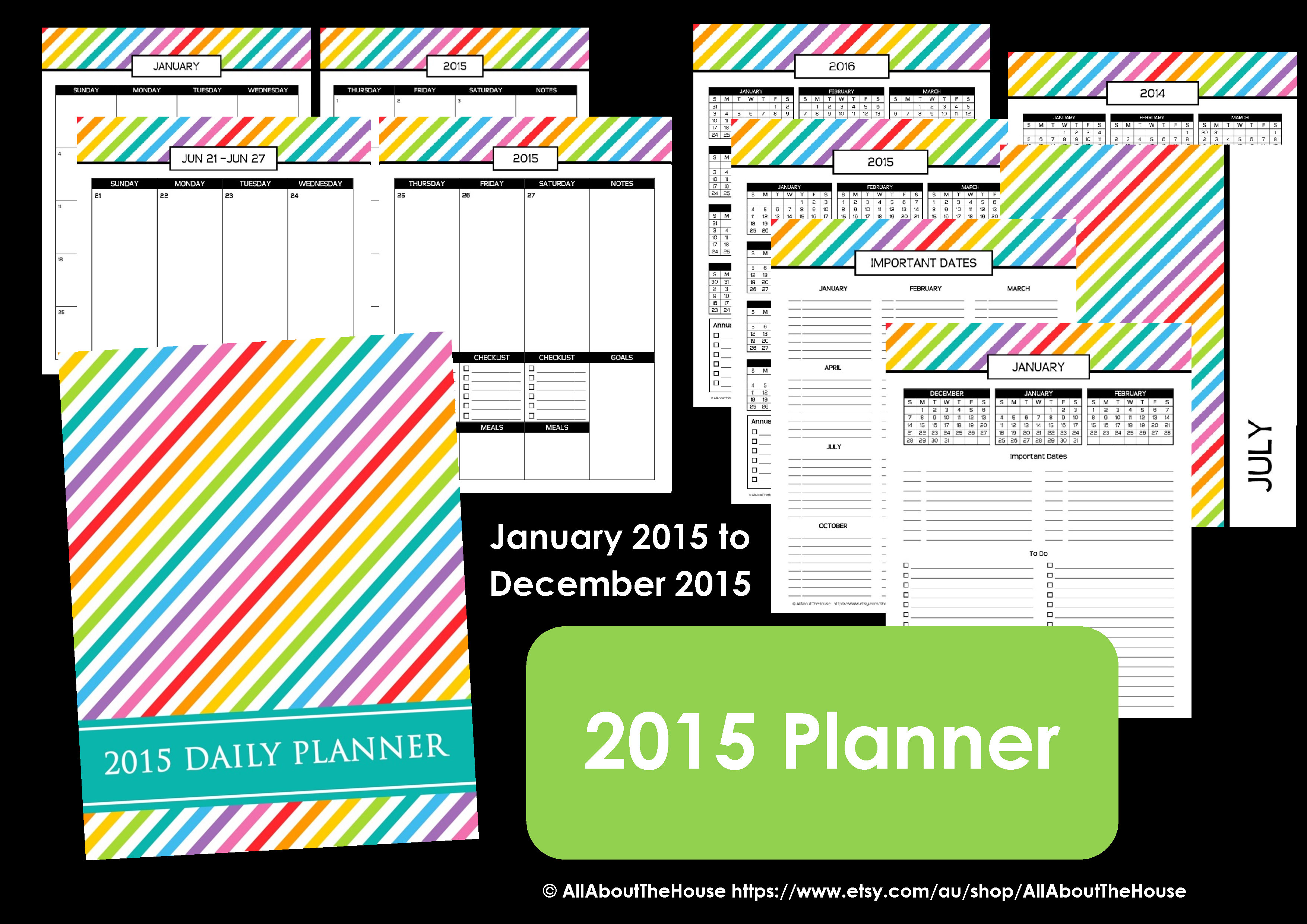 2015 planner personalised rainbow