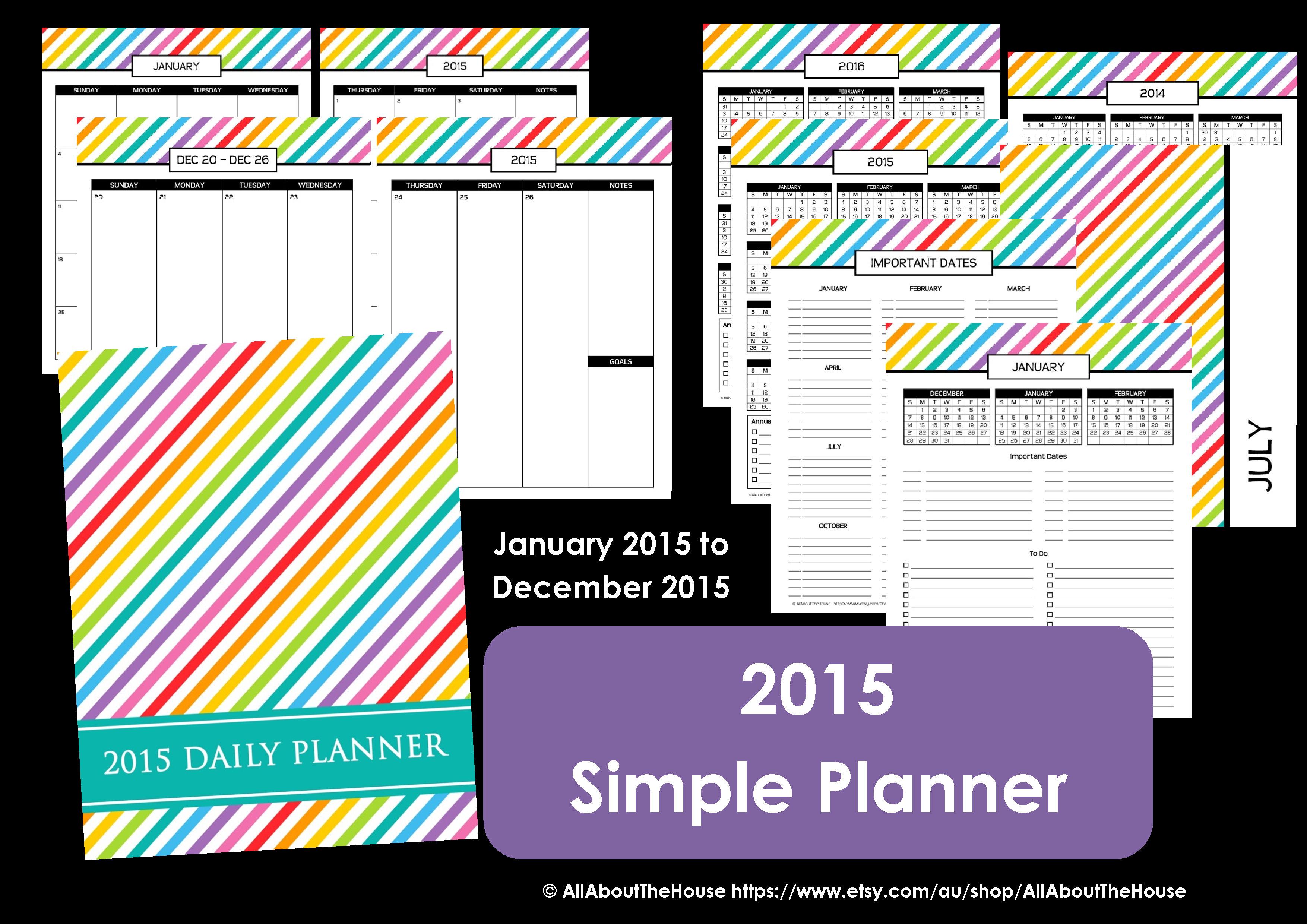 2015 simple planner printable